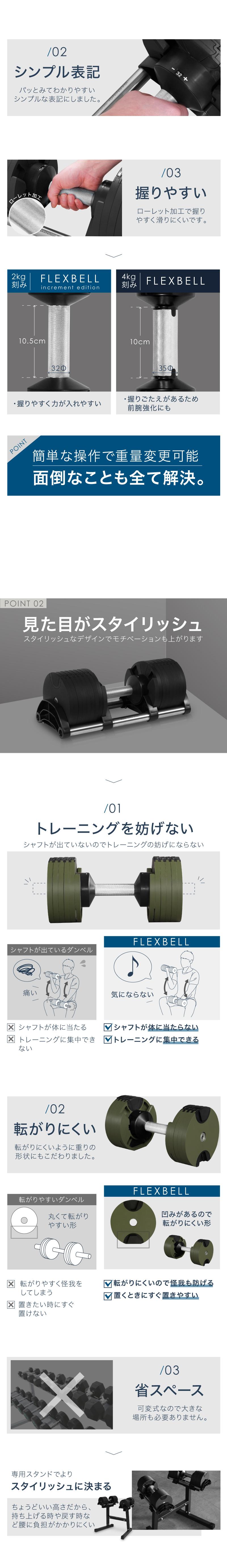 2kg刻み インクリメントエディション フレックスベル ダンベル 32kg 2個 セット