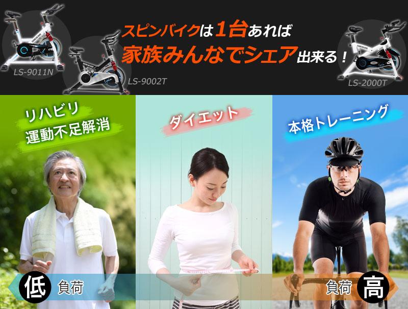 スピンバイクは家族みんなでシェアできる