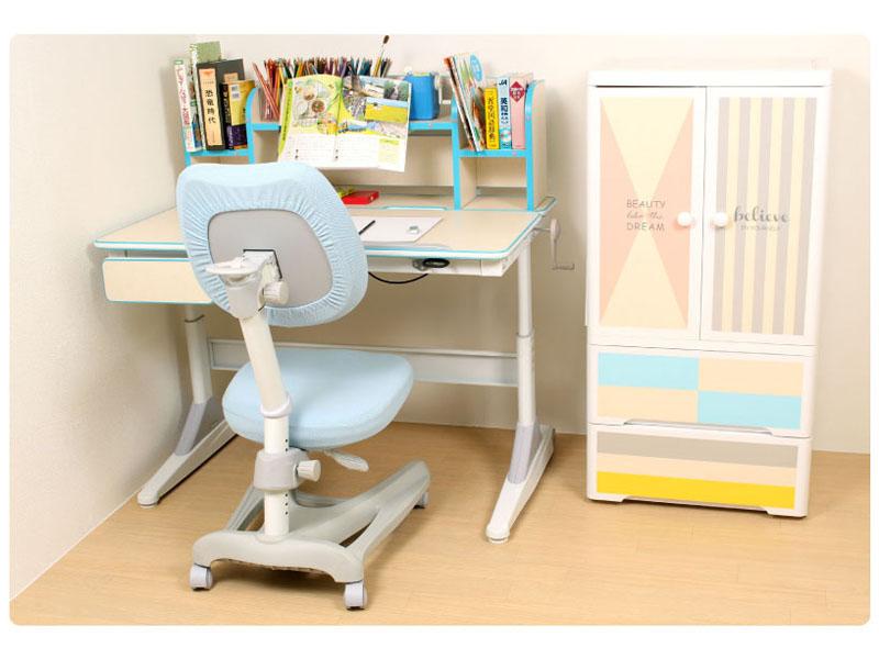 デスク 学習机 高さ調節可能 脊柱後退の予防 棚付き 正しい姿勢 エンジェルデスク写真