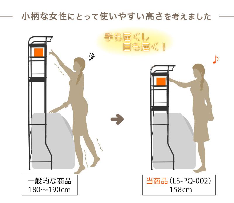 スリム コンパクト マンションサイズ ステンレス ランドリーラック ロータイプ LS-PQ-002 洗濯 棚 小柄な女性に使いやすい高さ